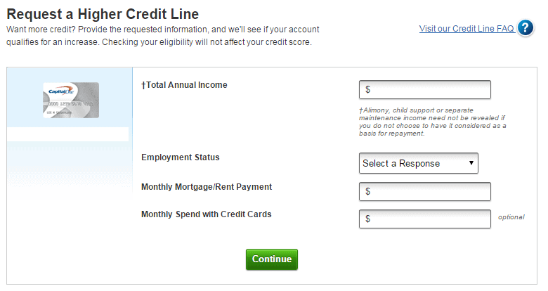 How to ask your credit card to increase your credit limit capitalone credit line increase request reheart Choice Image