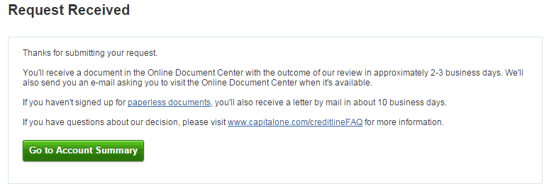 Capital One Further Review Required