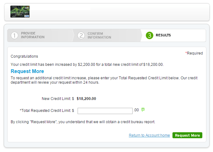 Citi Credit Limit Increase Results