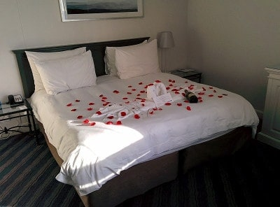 "A ""honeymoon"" note in our reservation at the Radisson Blu Waterfront Hotel in Cape Town, South Africa led to a rose-petal-covered bed and a bottle of champagne! Similar treats greeted us at other hotels also."