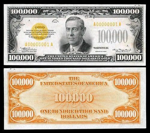 bill ever produ... $100000 Bill