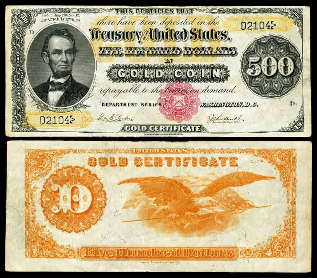 Ever see a 100000 bill that and other discontinued higher us 500 gc 1882 fr 1216a xflitez Images