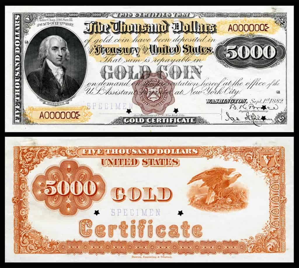 """""""US-$5000-GC-1882-Fr-1221a"""" by National Museum of American History - Image by Godot13. Licensed under Public Domain via Commons - https://commons.wikimedia.org/wiki/File:US-$5000-GC-1882-Fr-1221a.jpg#/media/File:US-$5000-GC-1882-Fr-1221a.jpg"""