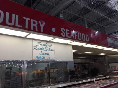 Seafood Road Show dates are always posted above the meat case.