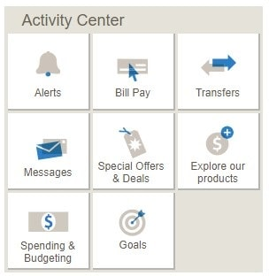 Bank of America activity center screenshot
