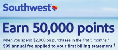 50,000 Rapid Rewards Points Offer for Southwest Visa Credit Card