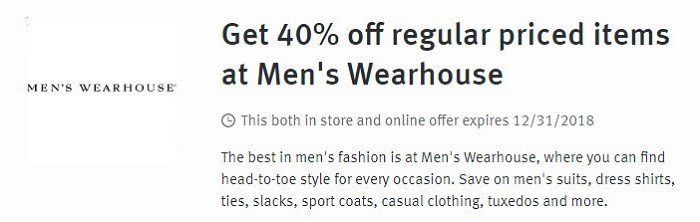Save 40% at Mens Wearhouse