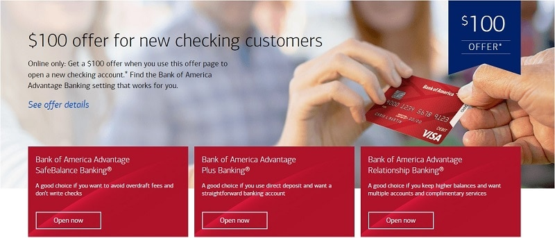 Bank of America $100 new account bonus offer details