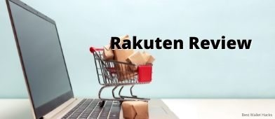 small shopping basket sitting on an open laptop with Rakuten Review text